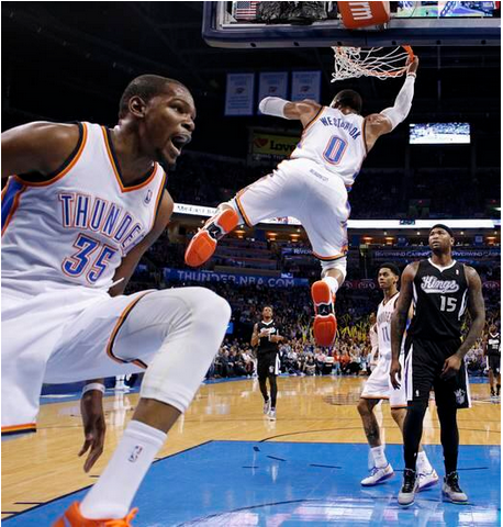 Westbrook throws down alley-oop dunk from Durant Russell Westbrook And Kevin Durant Alley Oop