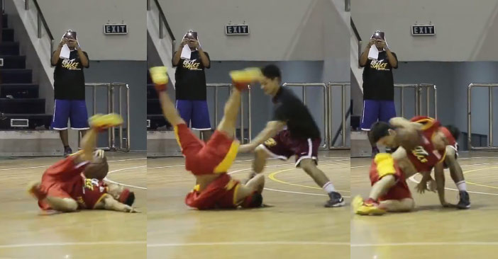 Lil Flash with the breakdancing streetball move